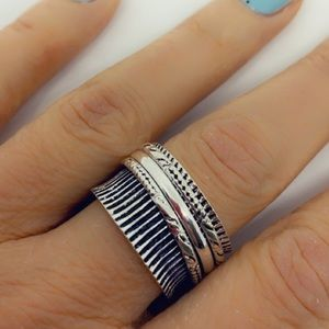 Spinner Ring Textured Cigar Band Sterling Ring